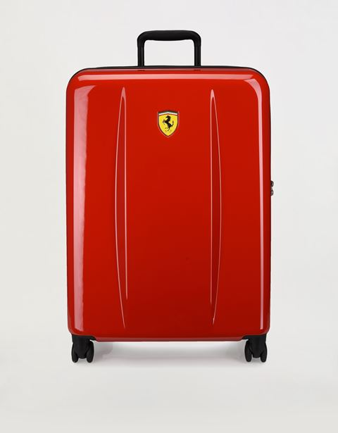 Medium, hard-shell- wheeled suitcase with Ferrari Shield