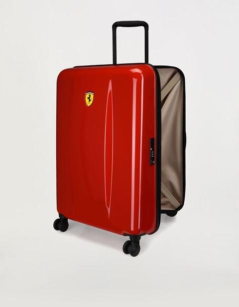 Large, hard-shell wheeled suitcase with Ferrari Shield