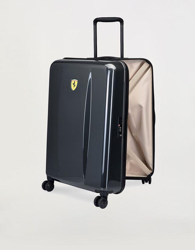 Scuderia Ferrari Online Store - Mittelgroßer Trolley-Hartschalenkoffer mit Ferrari-Abzeichen - Trolleys & Gepäck