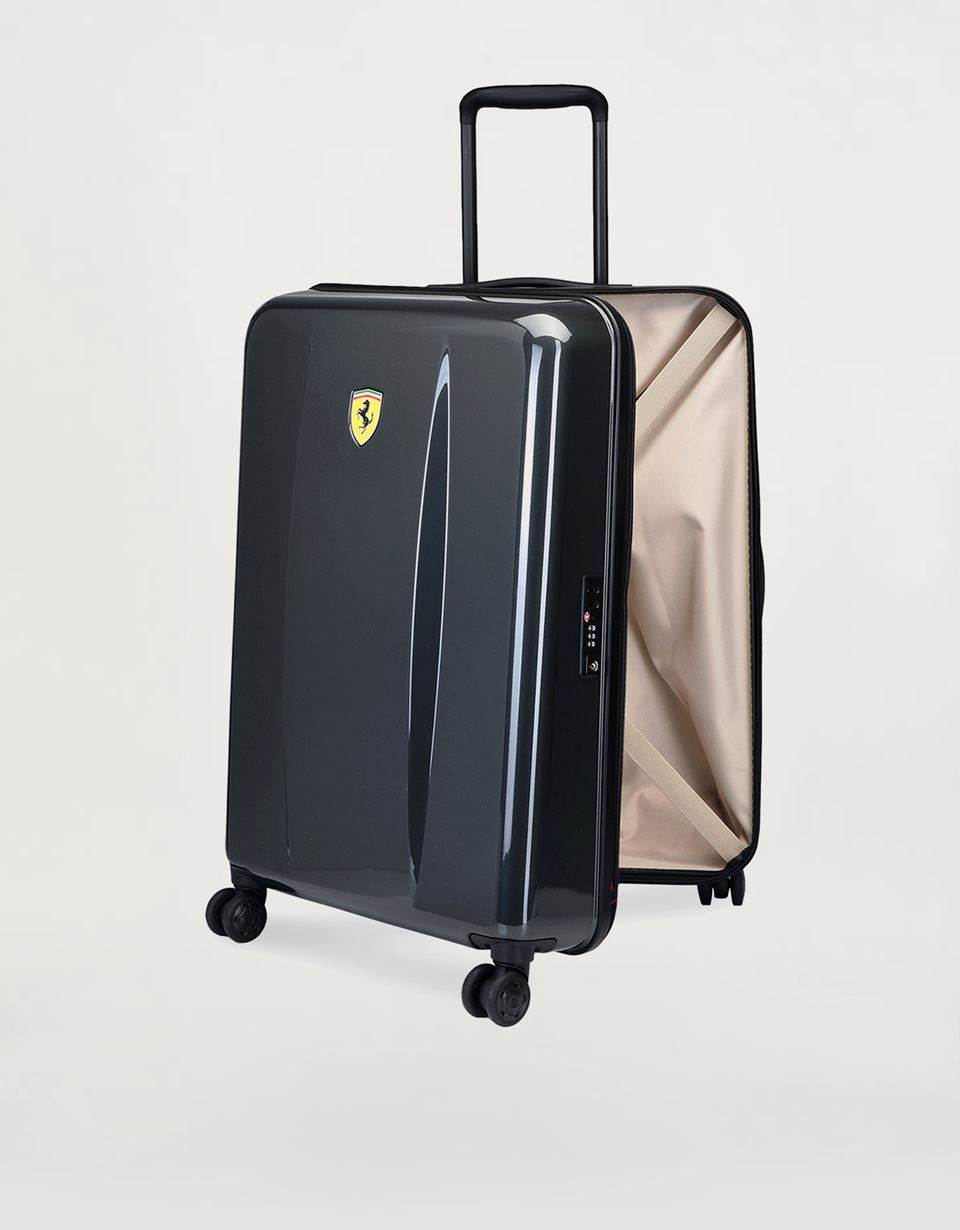 Scuderia Ferrari Online Store - Medium, hard-shell- wheeled suitcase with Ferrari Shield - Trolleys & Luggage
