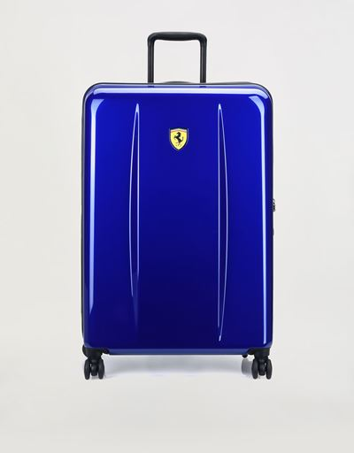 Large hard shell wheeled suitcase with Ferrari Shield