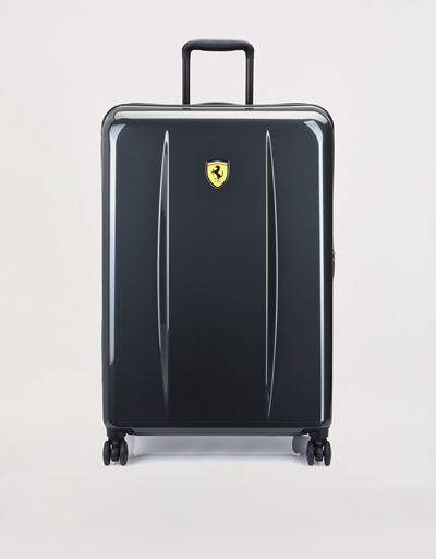 Large hard-shell wheeled suitcase with Ferrari Shield