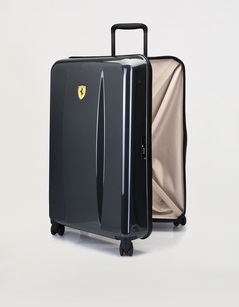 Scuderia Ferrari Online Store - Large, hard-shell wheeled suitcase with Ferrari Shield -