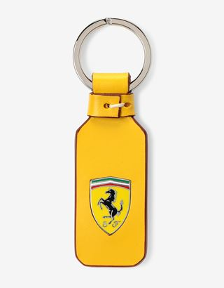 Scuderia Ferrari Online Store - Natural leather key ring with enamel Shield and hand-finished details - Keyholders