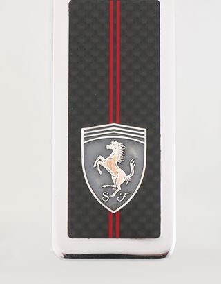 Scuderia Ferrari Online Store - Silver and carbon fibre keyring - Keyrings