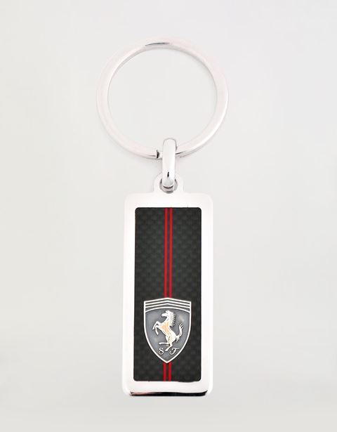 Silver Scuderia Ferrari keyring with Shield