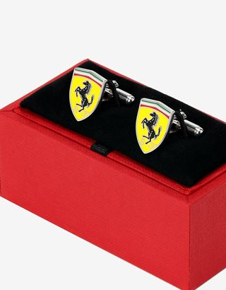 Scuderia Ferrari Online Store - Men's silver Scuderia Ferrari cufflinks in the shape of Shield - Cufflinks