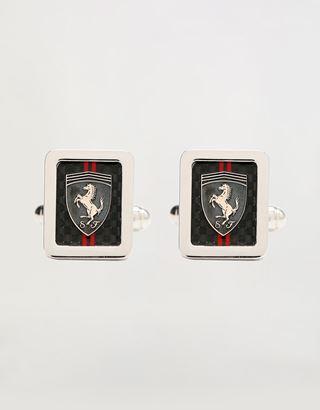Scuderia Ferrari Online Store - Men's silver and carbon fiber cufflinks - Cufflinks