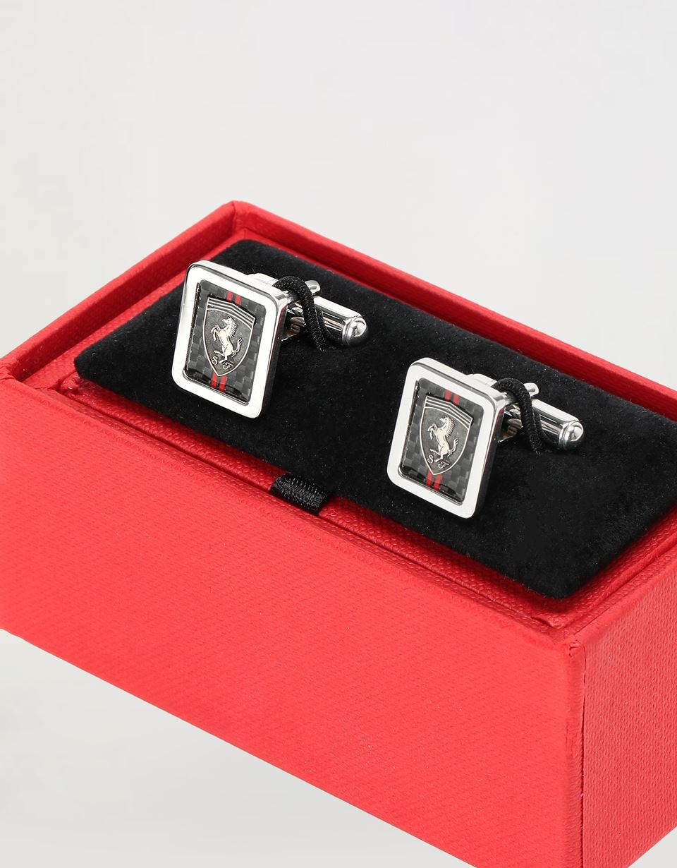 Scuderia Ferrari Online Store - Men's silver cufflinks with relief engraved Ferrari Shield - Cufflinks