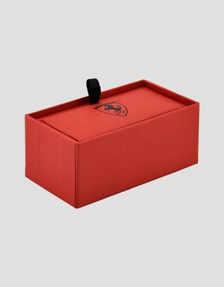 Scuderia Ferrari Online Store - Men's silver bolt-shaped cufflinks - Cufflinks
