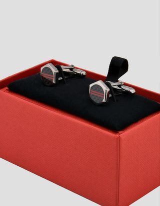 Scuderia Ferrari Online Store - Boutons de manchette homme en argent en forme de boulon - Boutons de manchettes