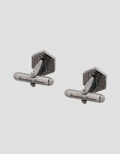 Men's silver bolt-shaped cufflinks