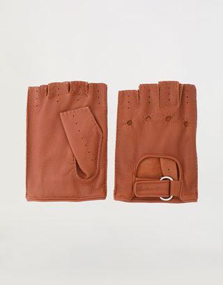 Scuderia Ferrari Online Store - Fingerlose Herren-Fahrerhandschuhe aus Leder - Fingerlose Handschuhe
