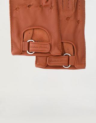 Scuderia Ferrari Online Store - Men's fingerless leather driving gloves - Fingerless Gloves