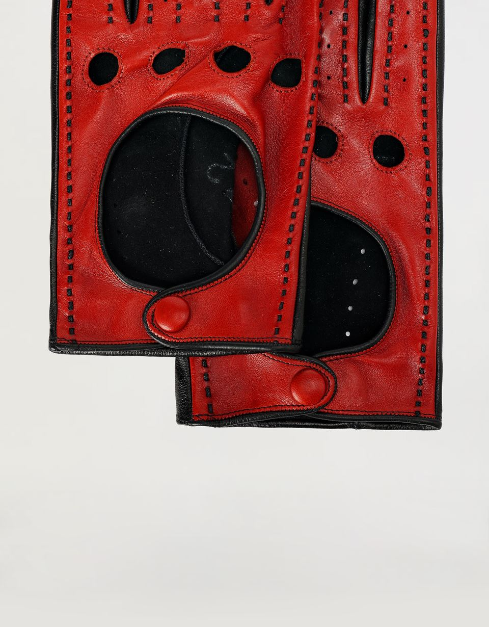 Scuderia Ferrari Online Store - Men's driving gloves in lambskin nappa leather - Regular Gloves