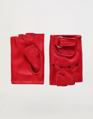 Scuderia Ferrari Online Store - Men's fingerless leather driving gloves - Fingerless Gloves