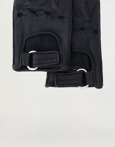 Men's fingerless leather driving gloves