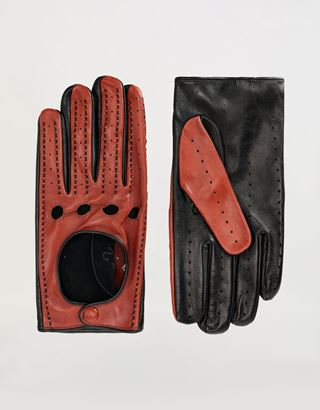 Scuderia Ferrari Online Store - Men's driving gloves in nappa lambskin - Regular Gloves