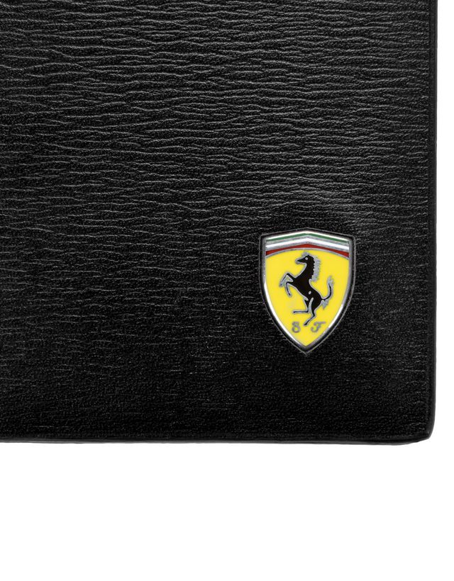 Scuderia Ferrari Online Store - Men's boarded leather and carbon fibre credit card holder -