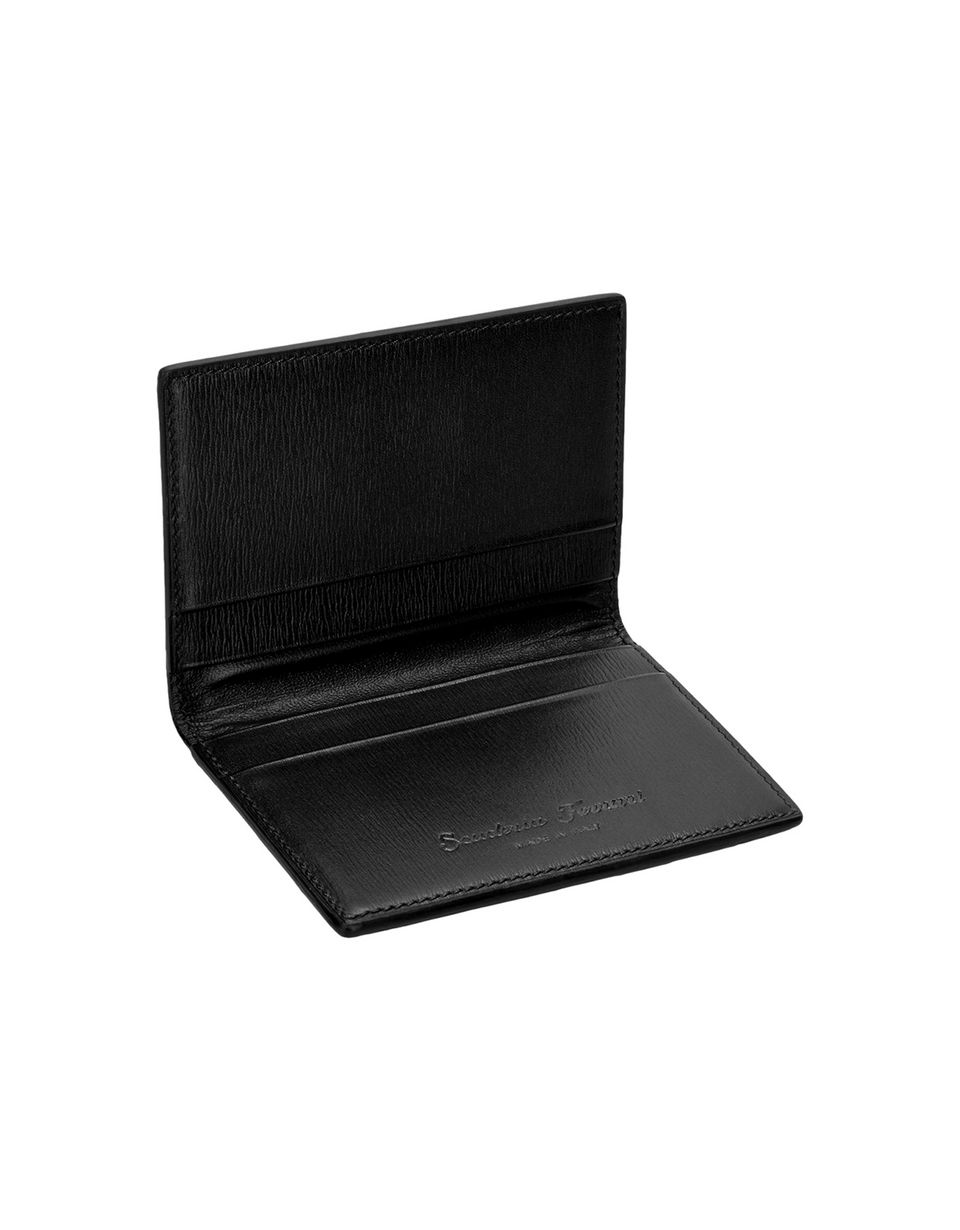 Scuderia Ferrari Online Store - Men's boarded leather and carbon fibre credit card holder - Credit Card Holders