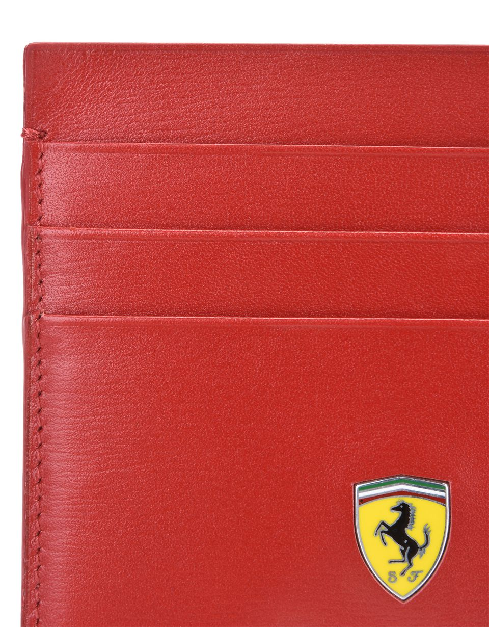 Scuderia Ferrari Online Store - Boarded calfskin leather and carbon fiber card holder -
