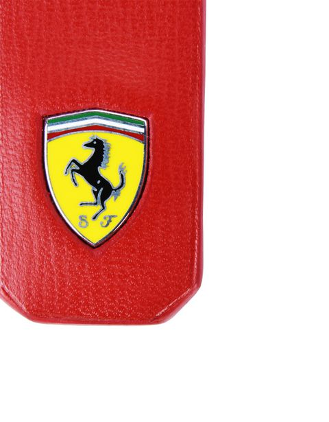 Scuderia Ferrari Online Store - Keyring in boarded calfskin leather with Ferrari Shield - Keyholders