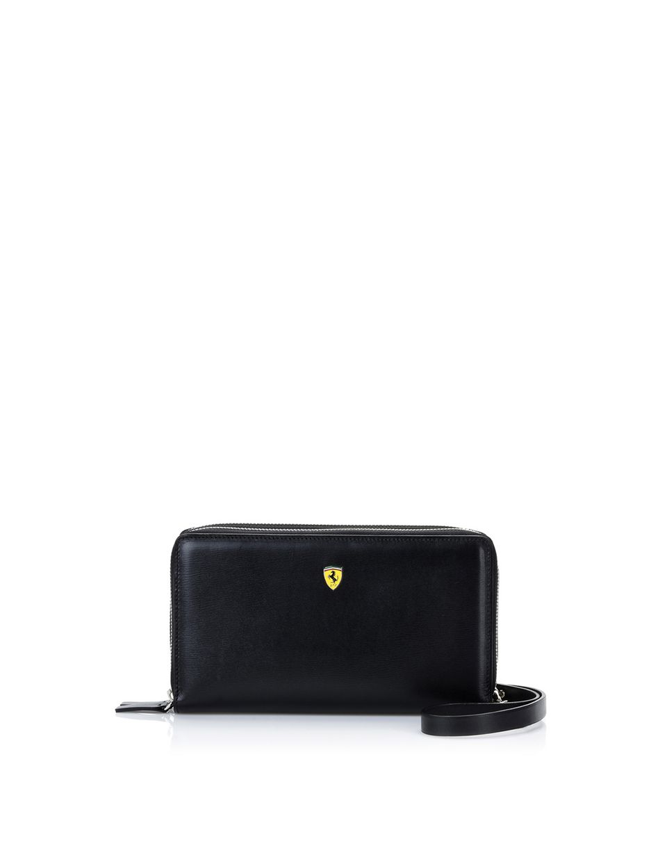 Scuderia Ferrari Online Store - Boarded calfskin leather clutch - Zip-around Wallets