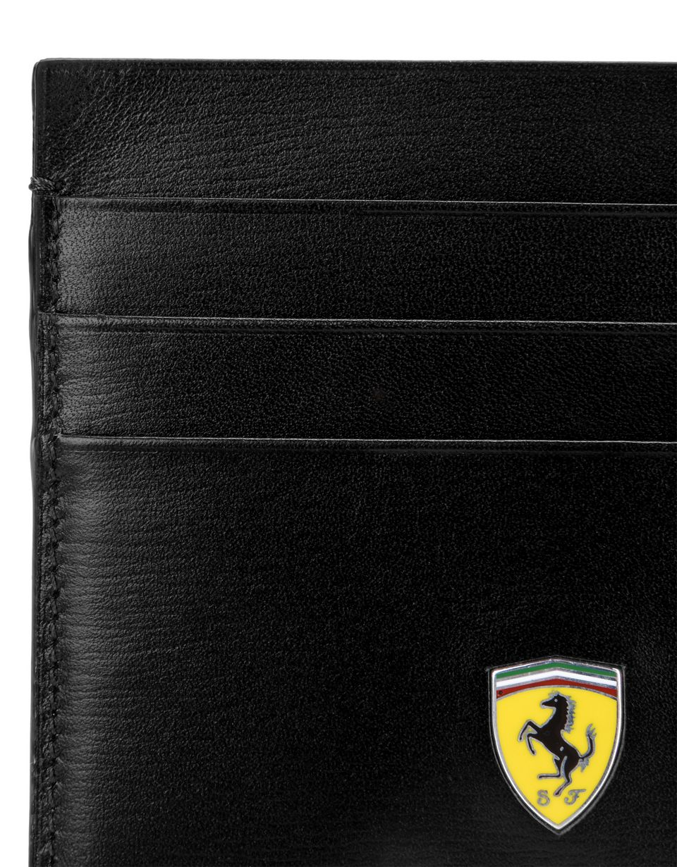 Scuderia Ferrari Online Store - Boarded calfskin leather and carbon fiber card holder - Credit Card Holders