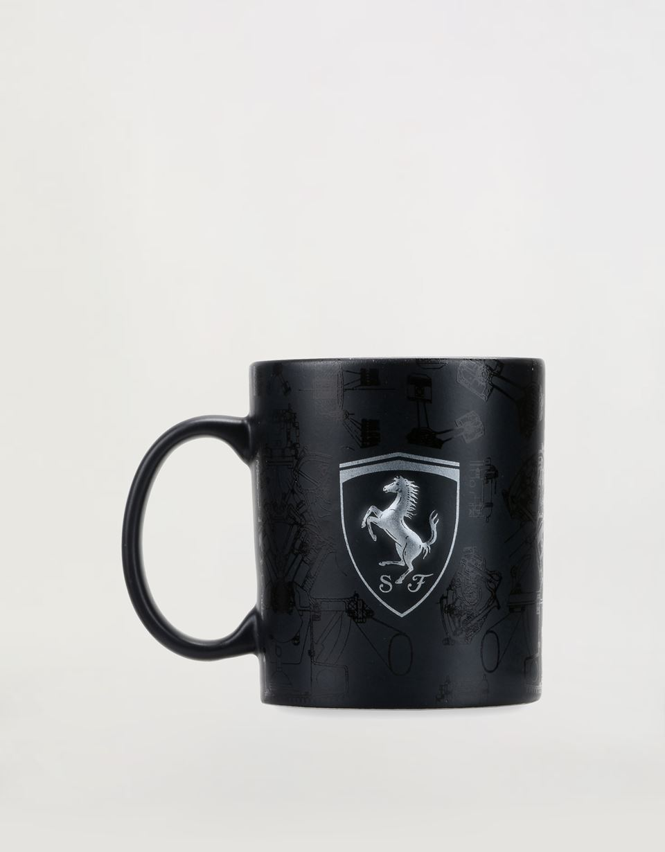 Scuderia Ferrari Online Store - Ceramic mug with 3D Ferrari Shield and pattern with polished and matte effect. - Mugs & Cups