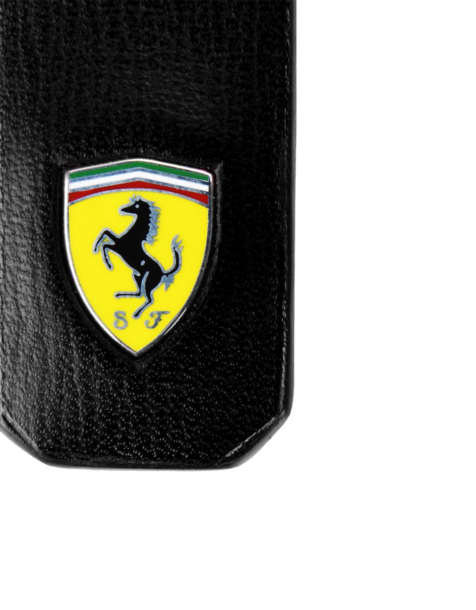 Scuderia Ferrari Online Store - Keyring in boarded calfskin leather with Ferrari Shield -