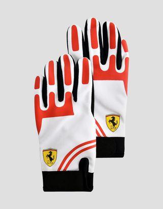 Scuderia Ferrari Online Store - Scuderia Ferrari driving gloves for teens - Regular Gloves