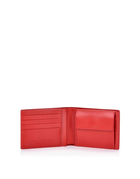 Scuderia Ferrari Online Store - Horizontal boarded calfskin leather wallet -