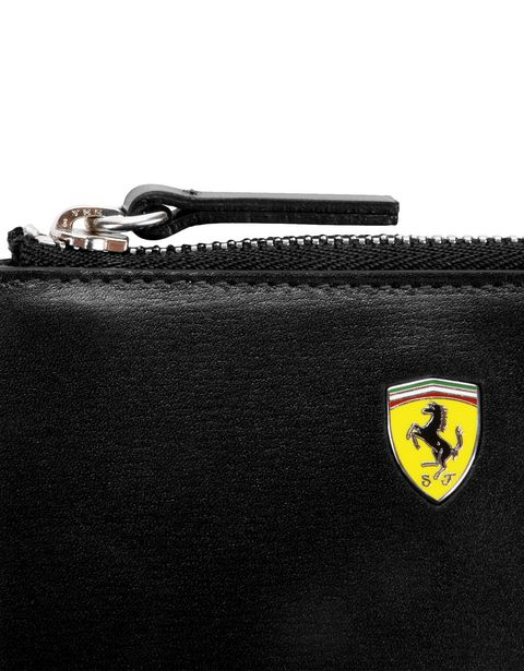Scuderia Ferrari Online Store - Women's boarded calfskin leather key pouch -