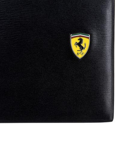 Scuderia Ferrari Online Store - Horizontal boarded calfskin leather wallet - Horizontal Wallets