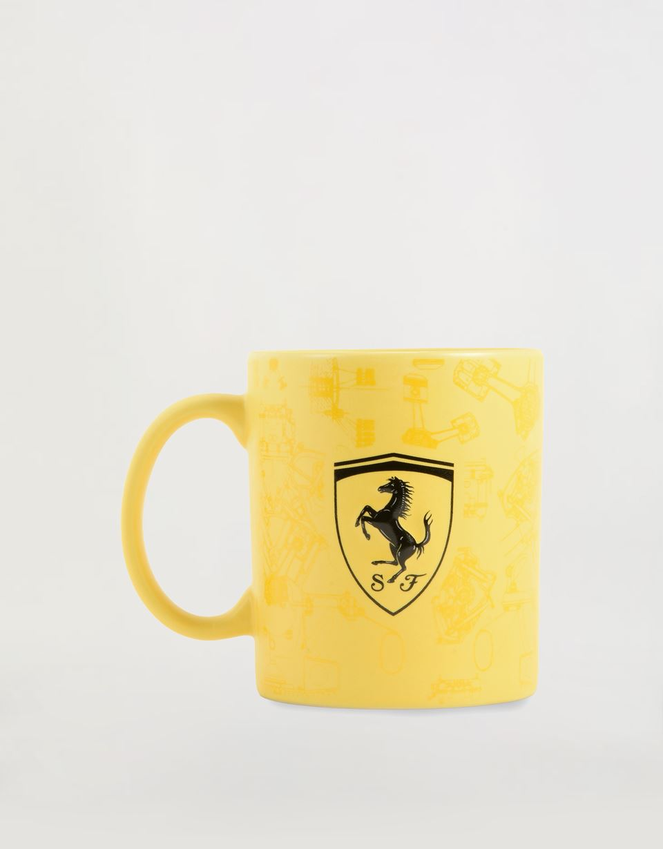 Scuderia Ferrari Online Store - Matte-finish ceramic mug with Ferrari Shied - Mugs & Cups