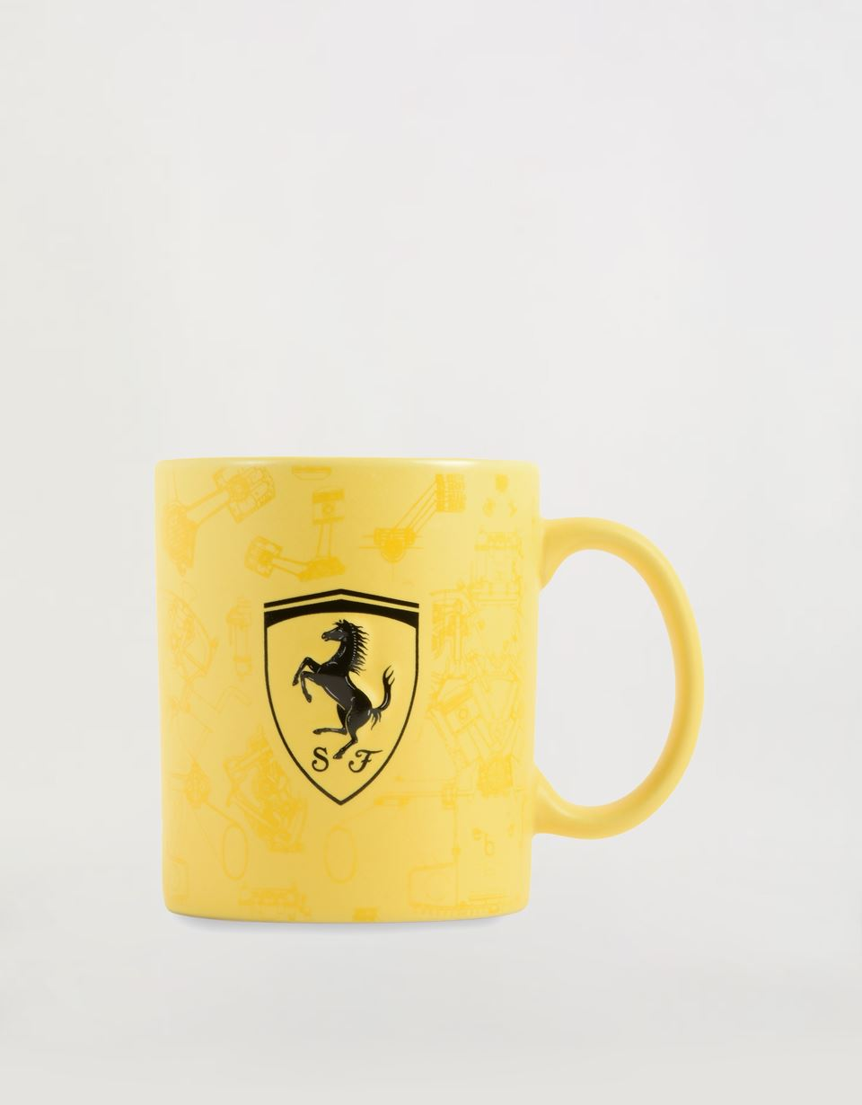 Scuderia Ferrari Online Store - Ceramic Mug with 3D Ferrari Shield and pattern with glossy and matt effect - Mugs & Cups