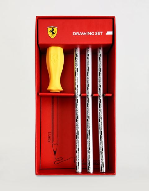 Scuderia Ferrari Online Store - Scuderia Ferrari pencil and rubber set - Pencils