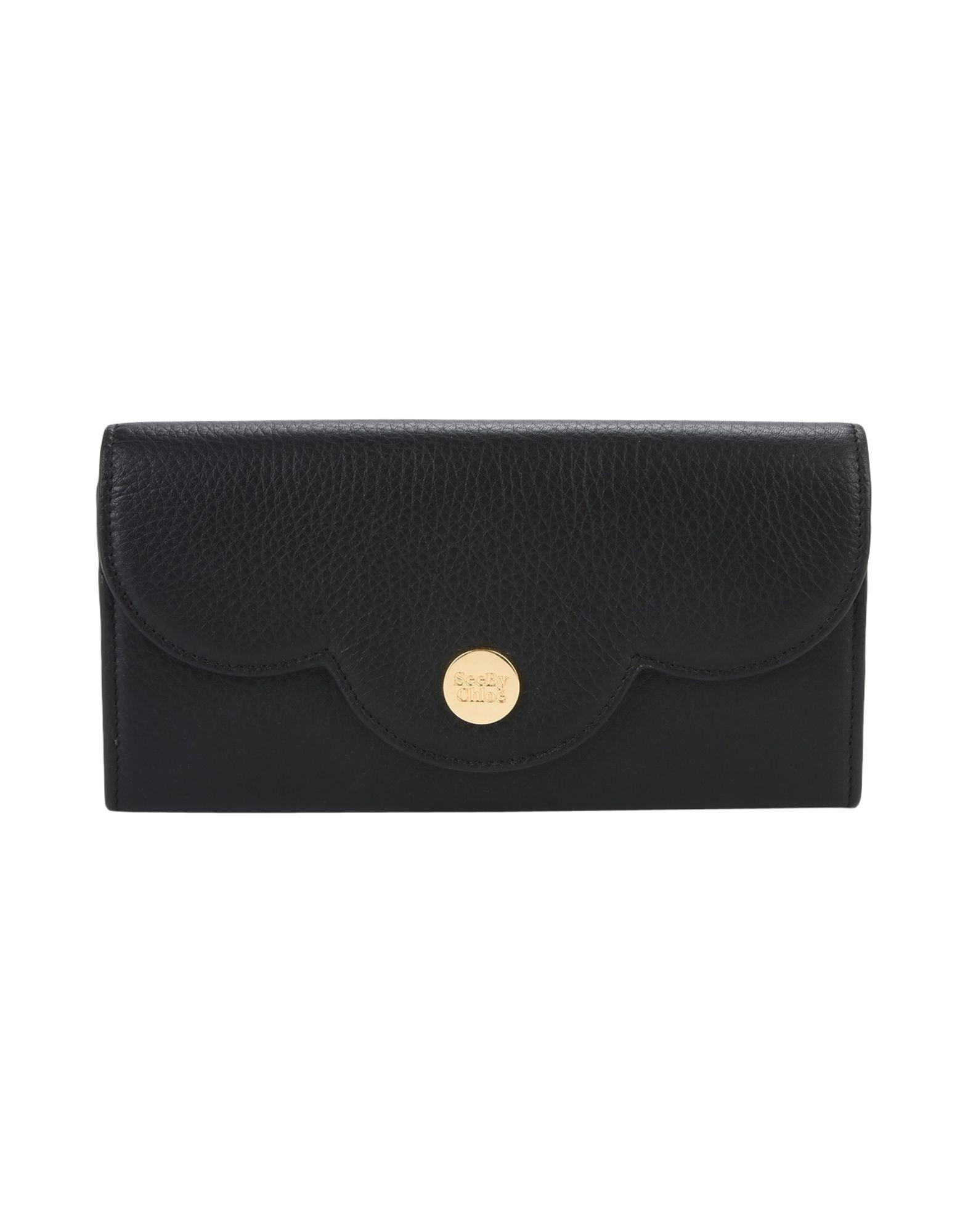 レディース SEE BY CHLO polina flat wallet with flap 財布  ブラック