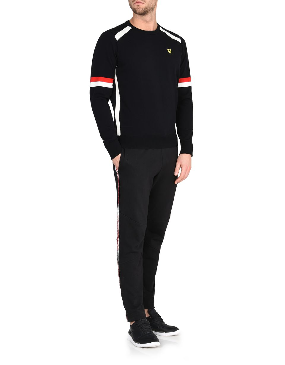Scuderia Ferrari Online Store - Men's crewneck sweater with Ferrari Shield - Crew Neck Jumpers