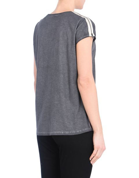 Cotton boat neck T-shirt with zip