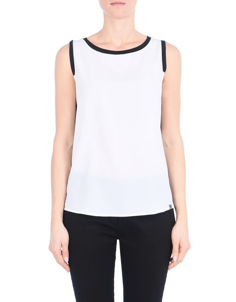 Women's sleeveless top with contrasting inserts