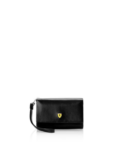 Women's boarded calfskin leather clutch
