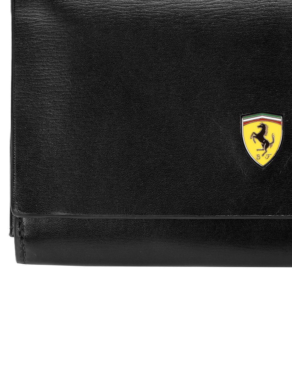 Scuderia Ferrari Online Store - Women's boarded calfskin leather clutch - Horizontal with coin Wallets