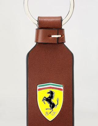 Scuderia Ferrari Online Store - 搪瓷盾形徽标与手工细节天然皮革钥匙扣 - 钥匙扣