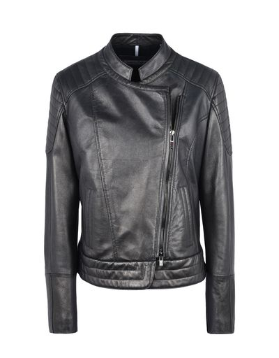 Scuderia Ferrari Online Store - Women's leather jacket with metallic finish - Leather Jackets