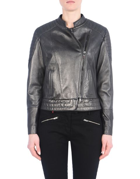 Women's leather jacket with metallic finish