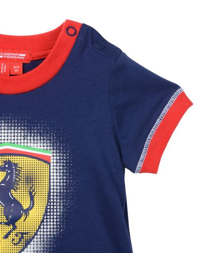 Scuderia Ferrari Online Store - Baby boys Scuderia Ferrari T-shirt with Shield - Short Sleeve T-Shirts
