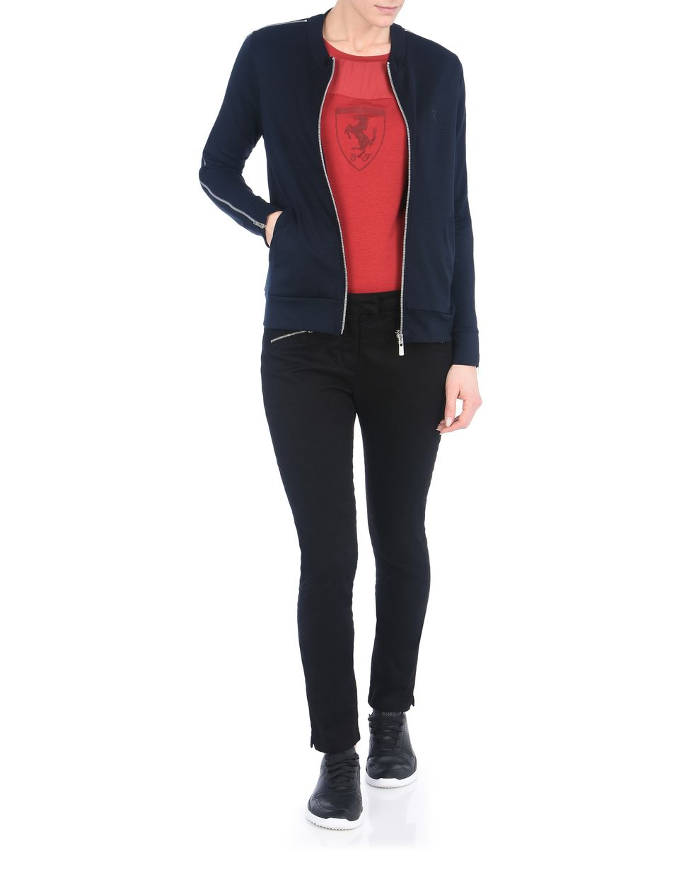 Scuderia Ferrari Online Store - Woman's jersey sweater with zipper - Zip Sweaters