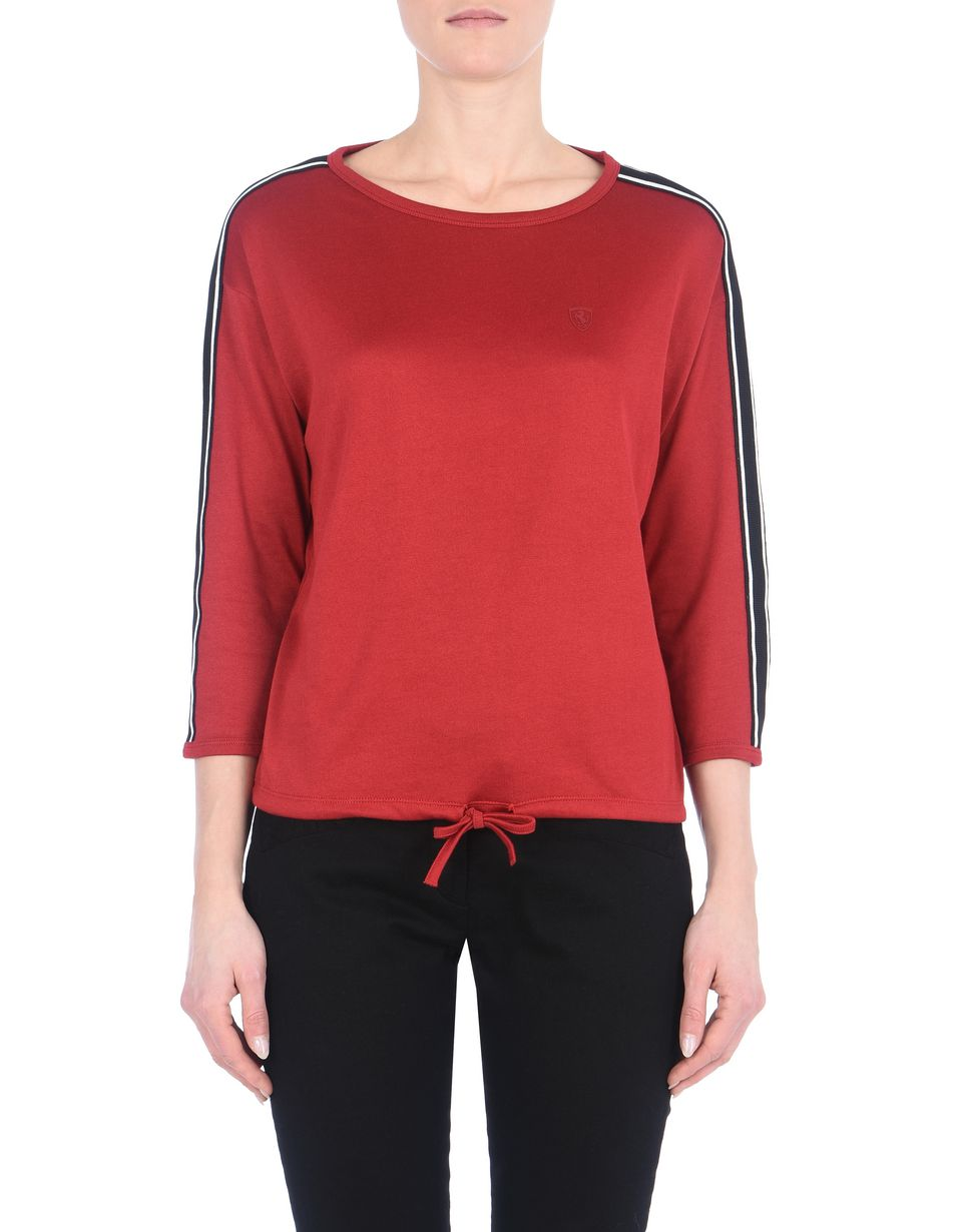 Scuderia Ferrari Online Store - Women's crewneck sweater with tone-on-tone Ferrari Shield - Crew Neck Sweaters