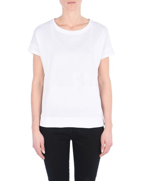 Jersey cotton boat neck T-shirt.